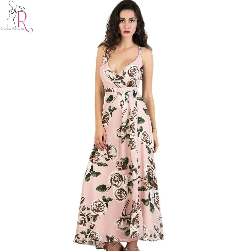 Strappy Backless Chiffon Maxi Dress Pink Sexy V Neck Rose Print Split Summer Long A Line Dresses 2017 New Fashion Beach Clothing