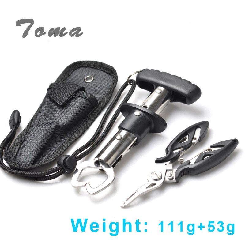 TOMA Brand Stainless Steel 155mm 111g Fishing Grip Fish Gripper Control + Multifunction Fishing Lure Pliers Fishing Tackle Tool