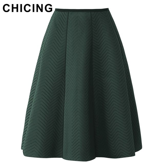 CHICING 2017 Women High Waist Wave Multi Color Zipper Midi Skirt Autumn Winter Basic Fashion Causal SkirtSaia Femininas A1610021