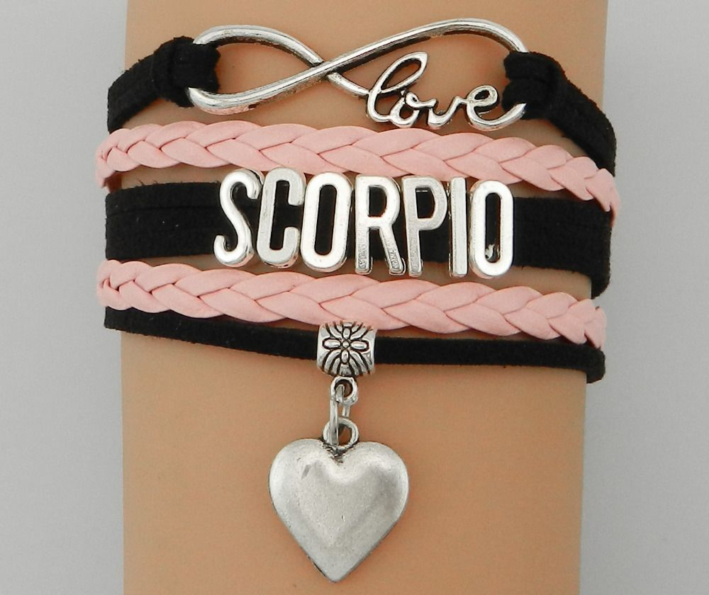 Infinity Love Scorpio  Zodiac Sign Bracelet- Handmade Black with Pink Leather Braided Constellation  Bangle Bracelet