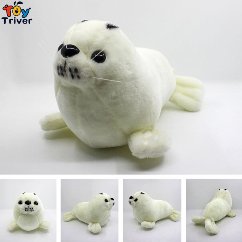 Quality Soft Plush White Sea Lion Toy Stuffed Doll Toys Kids Children Baby Boy Friend Birthday Gift Home Shop Decoration Triver