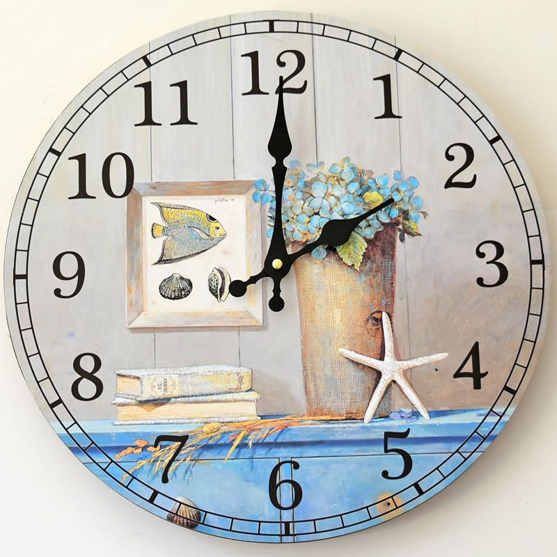 Zakka Home Furnishing Decorative Wall Clock Wood Frame Digital Electronic Clocks