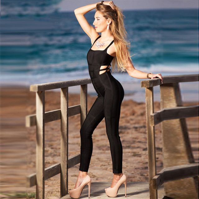2017 New Summer Womens Jumpsuit Bandage Black Spaghetti Strap Full Length Celebrity Party Sexy Bodycon Playsuit Women Wholesale