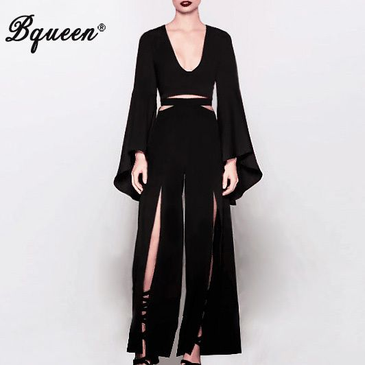 Bqueen 2017 New Fashion Black Flare Sleeve Long Sleeve Split Pant Sets Deep V  Crop Top Street Style