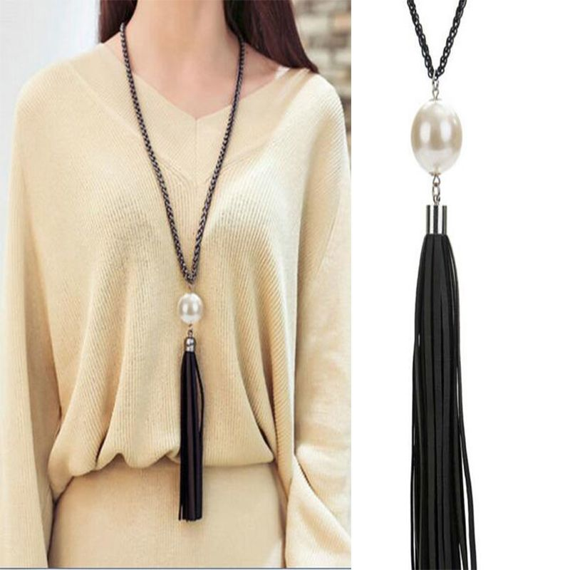 Fashion Black Long Chain Necklace Charm Beads Leather Tassel Sweater Chain Necklace For Women Jewelry