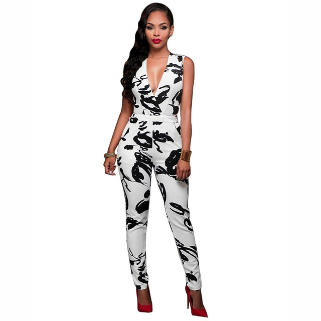 Hot Women Jumpsuits Bodycon Sleeveless Slim Deep V-neck Slim overalls Ink Abstract Printed Jumpsuit Rompers with Pocket P30