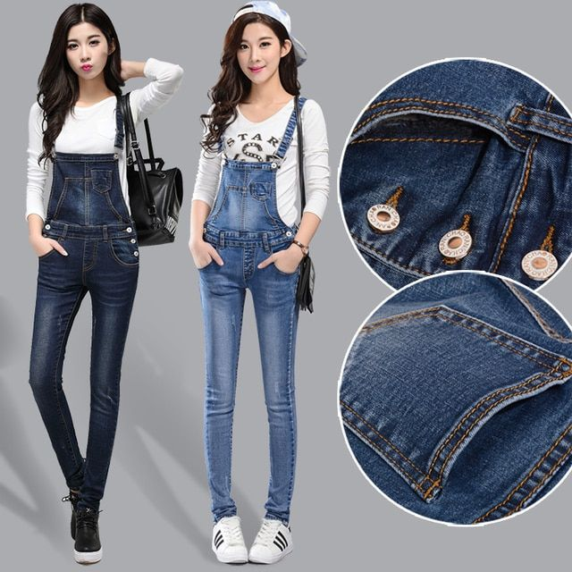 Suspenders Skinny Jeans 2016 New Autumn Women Denim Bodysuit Women's Overalls Long Pants Ladies' Jeans Jumpsuits