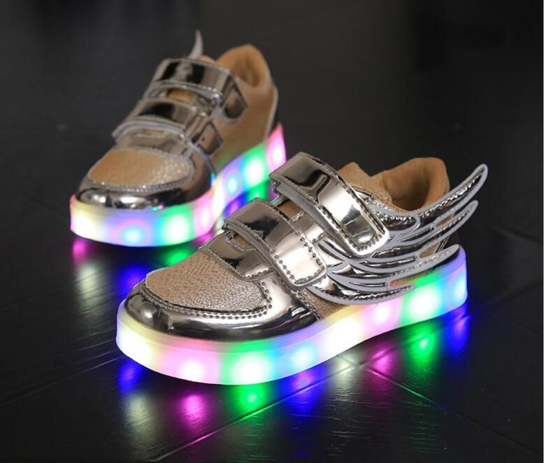 USB Charging Led Children PU Shoes With Light Up Kids Casual Boys&Girls Luminous Wing Sneakers Glowing Shoe enfant size 26-30