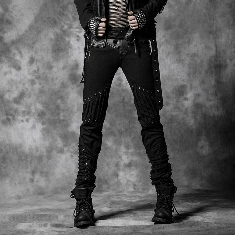 Personality rope back denim Men Pants Punk Gothic Fashion Casual K174
