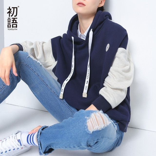 Toyouth 2016 New Arrival Women Autumn Loose Sweatshirt Casual Letter Embroidery Cotton  Hoodies Female Patchwork Hooded