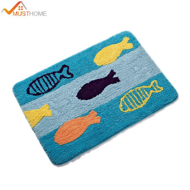 "15.7""Wx23.6""L/40x60cm Cartoon Blue fish superfine fiber non slip bath mats"