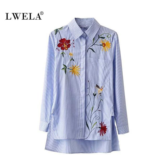 LWELA 2017 Embroidery flower casual women shirt striped blouse top  spring elegant shirts chemise femme