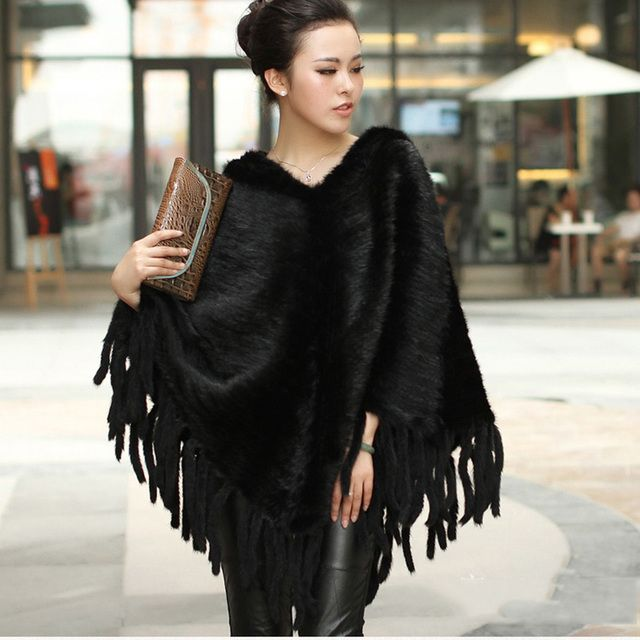 2017 New women natural knitted mink fur ponchos with tassels genuine mink fur capes big size fashion capes autumn winter scarf