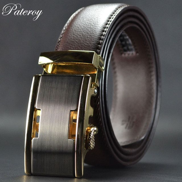 Paterory 2017 New Men's Belts Leather Belt For Men Luxury  High Quality Designer Mens Automatic Buckle Belt Brown Cintos Ceiture