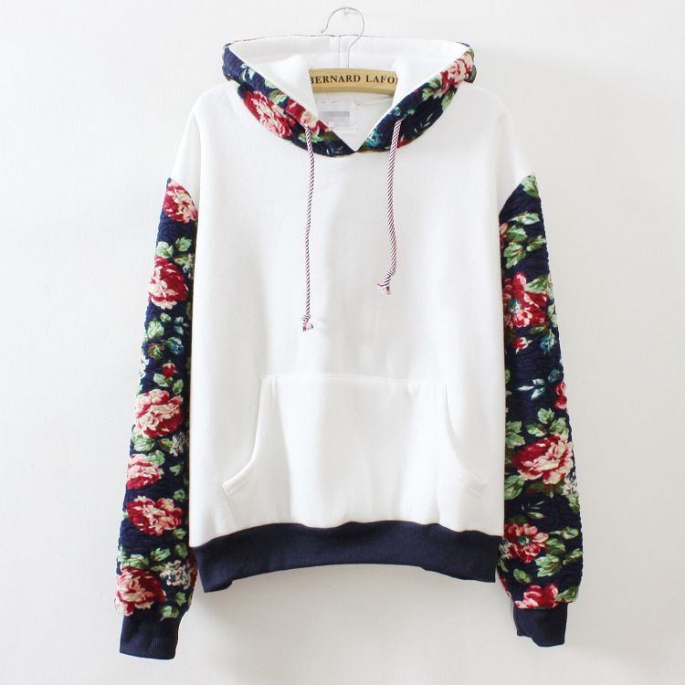 2016 autumn/winter casual sweatshirts for women high quality floral printing stitching sleeve hooded sweatshirts 2 colors