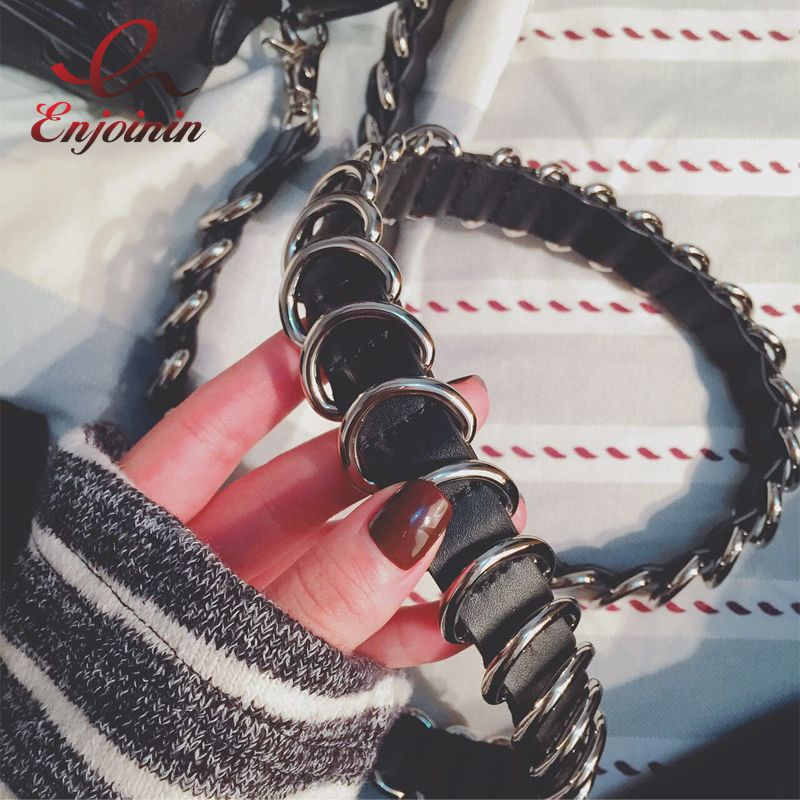 Good quality trend punk fashion pu leather silver buckle ladies handbag accessories shoulder strap belt bag parts
