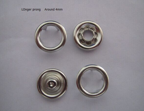 Wholesale Factory Sale ! 9.5mm longer prong snap Ring prong snap buttons for Baby clothes sets