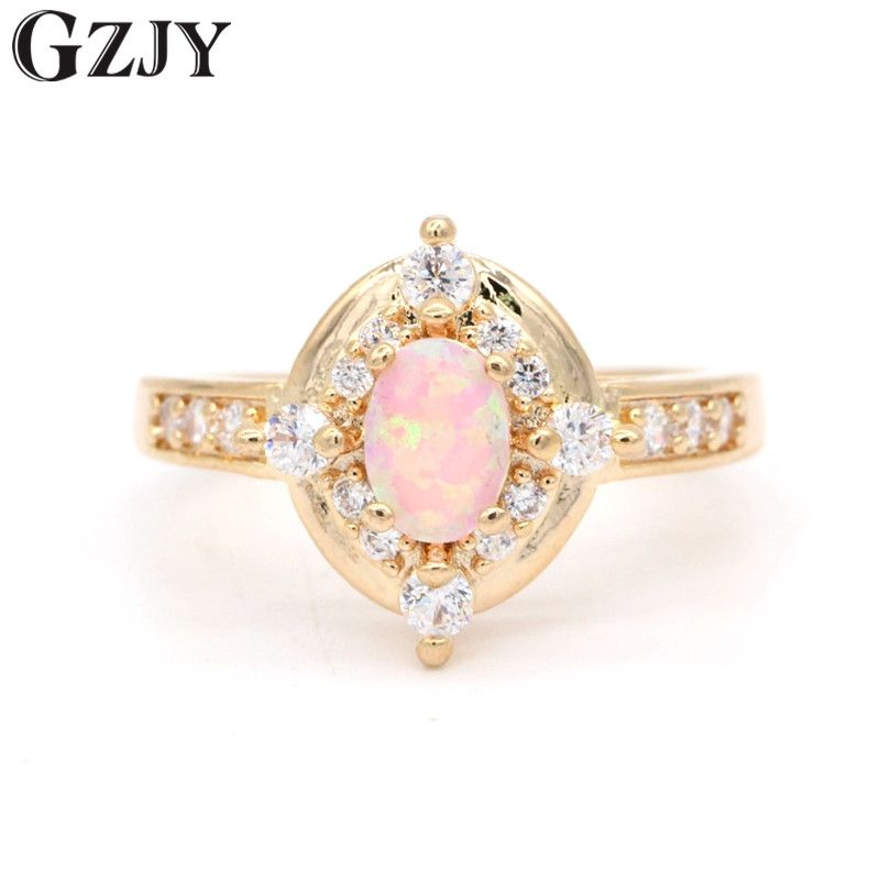 GZJY Amazing Charm Pink Fire Opal Zircon Gold Color Wedding Ring For Women Fashion Engagement Party Jewelry