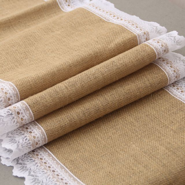 30x275cm Vintage Burlap Lace Edge Embroidery Hessian Table Runner Natural Jute Country Party Wedding Decoration