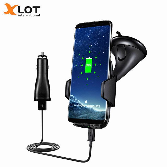 XLOT 10.8W Fast Qi Wireless Car Phone Charger Kit Charging Pad Standard Quick Car-Charger for Samsung Galaxy S8 S6 S7 Note 5