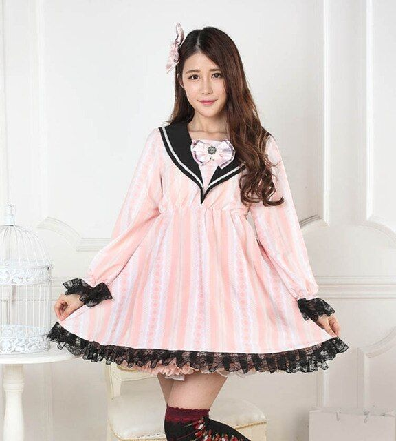 Pink sailor collar lolita striped lace print one-piece dress full sleeve cute bow tie Loyal princess cos women autumn dresses