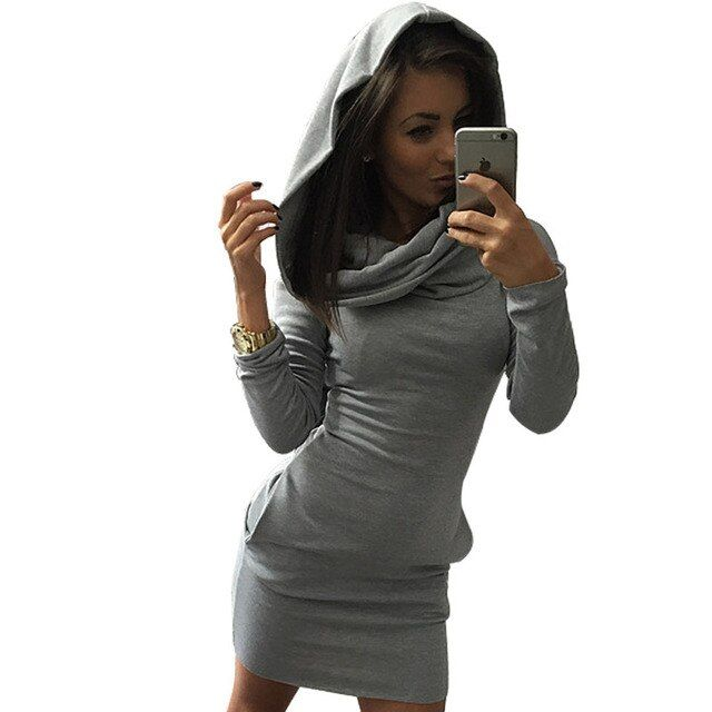S-XL New Fashion Autumn Womens Hooded Long Sweatshirt Package Hip Long Sleeve Sweatshirts Casual Lady Hoodies Free Shipping