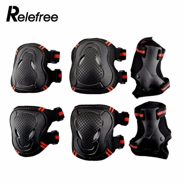 Relefree 6Pcs/Set Adult Roller Skates  Wrist Knee Elbow Protector Set KneePads Protection Sports Safety Guard