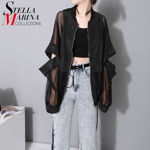 2017 Korean Fashion Women Loose Black White Blouse Mesh Sheer Sleeves Elbow Hollow Out Special Feminine Shirt chemise femme 1702