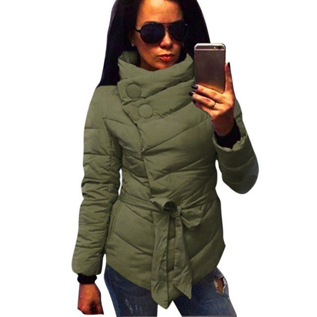 3 Colors Winter Coat Women Cotton Jacket High Collar With Belt Parkas For Women Winter Warm Outerwear Coats