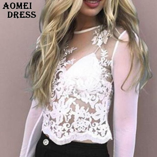 2016 Women Net Yarn Sexy See Through Tee Shirts Embroidery Lace Patchwork Tops Long Sleeve O Neck Slim Summer Autumn Clothes