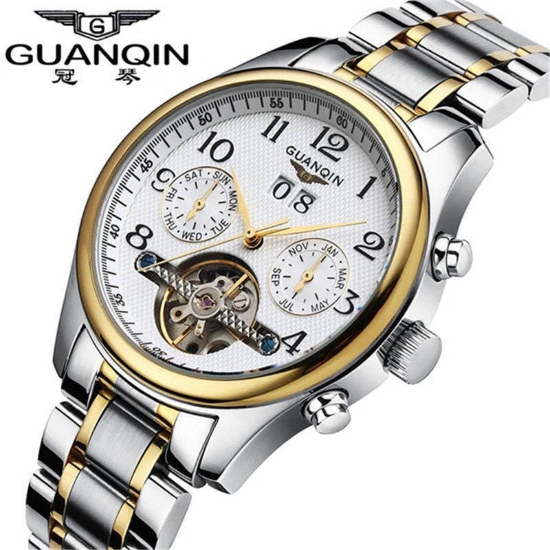 Watches Men Luxury Brand Guanqin Relogio masculino Fashion military Tourbillon Automatic Men's Mechanical Watch relojes