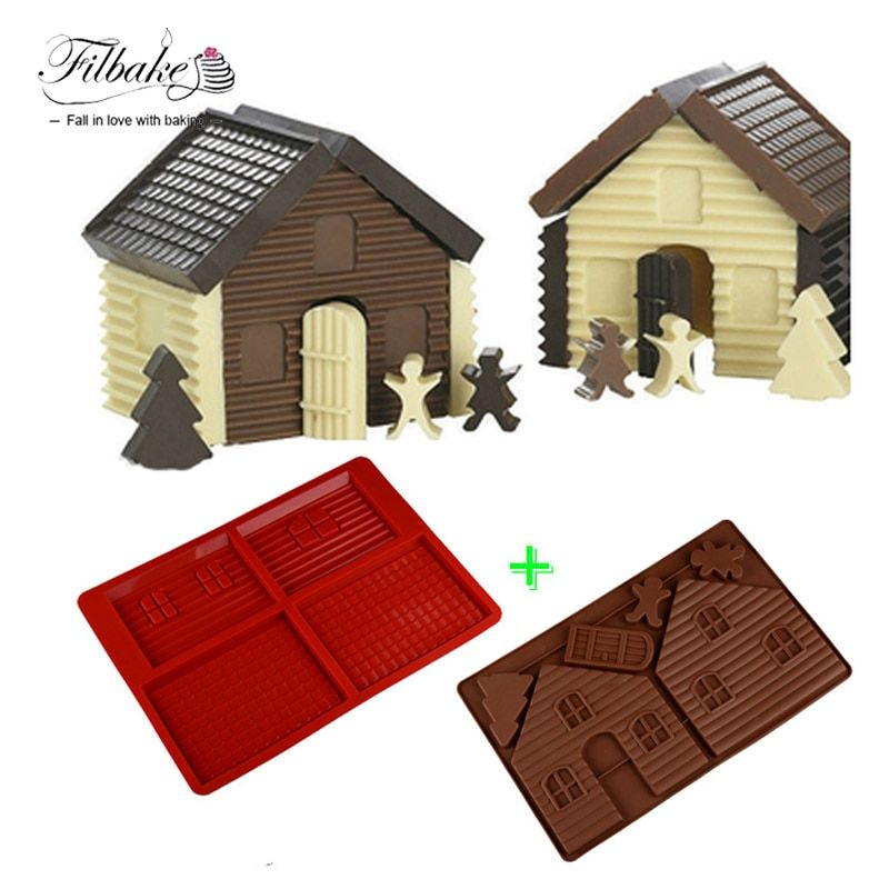 FILBAKE Baking Tools DIY 3D Christmas Gingerbread House Set 2PCS Silicone Mold Chocolate Cake Mould For Make Biscuits Cake