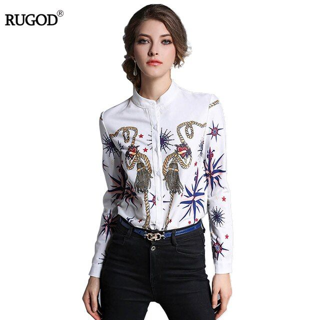 Fashion Abstract Print Women Blouses Slim Turtleneck Long Sleeves Blouse Shirts Women 2017 New Europe Style Casual Women Tops