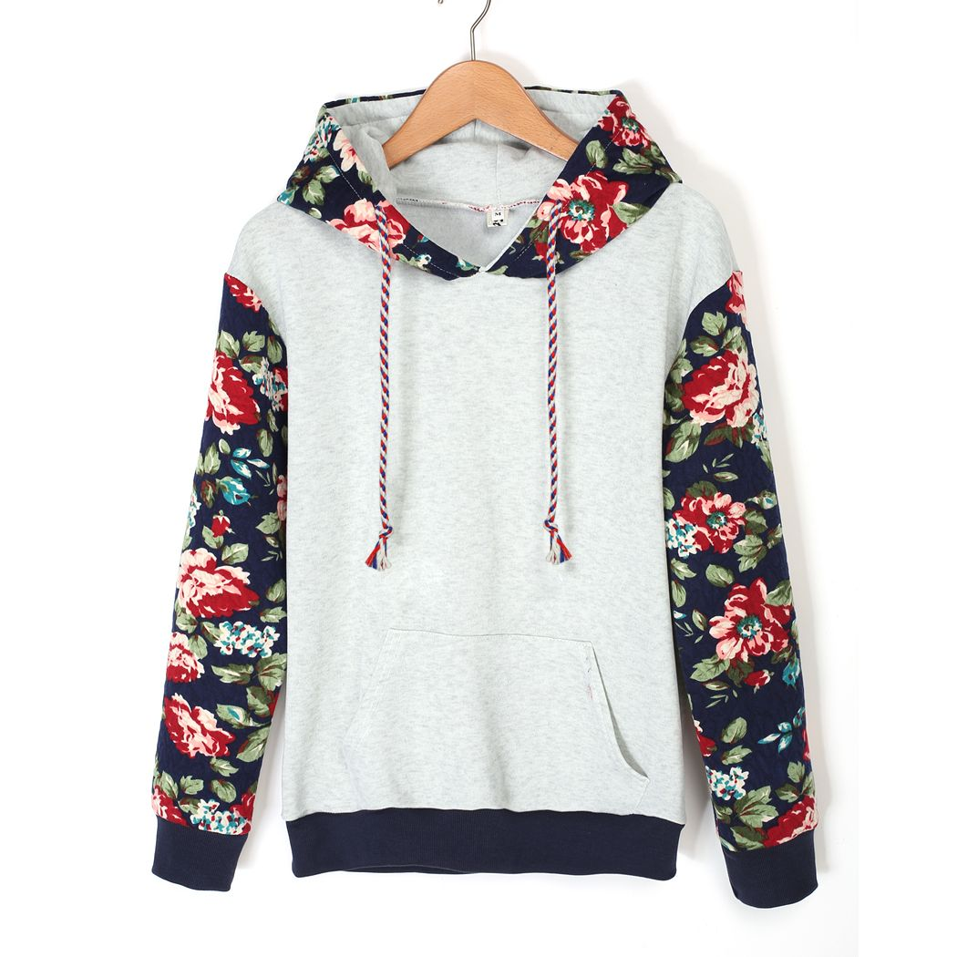 Women Winter Autumn Floral Hoodies Casual Patchwork Sweatshirts Women Loose Leisure hoodie Tracksuits Sudaderas Mujer S-XL @K