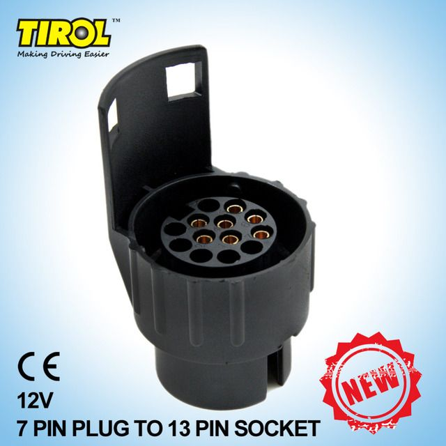 TIROL 7 To 13 Pin Trailer Plug Black frosted materials Trailer Wiring Connector 12V Towing Plug N TypeT22774a Free Shipping