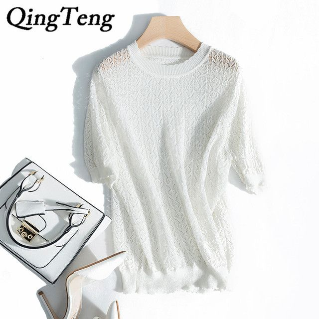 QingTeng White Lace Blouse Women Hollow Shirt 2017 Summer O-neck Sheer Elegant Ladies Linen Blouses Short Sleeve Summer Tops