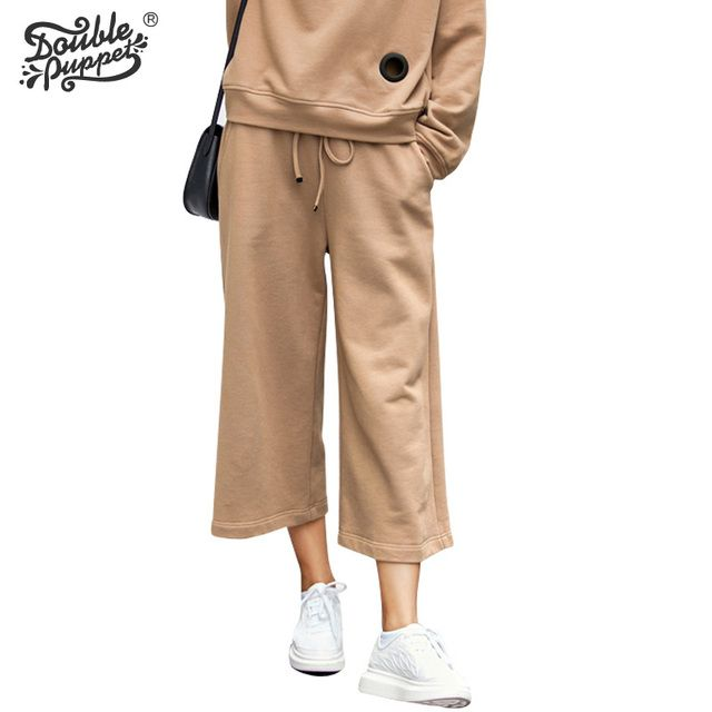 Double puppet New Spring Fashion Loose Casual Mid Waist Lace-Up Pull Trousers Ankle-Length Wide Leg Pants Women Bottoms 663019