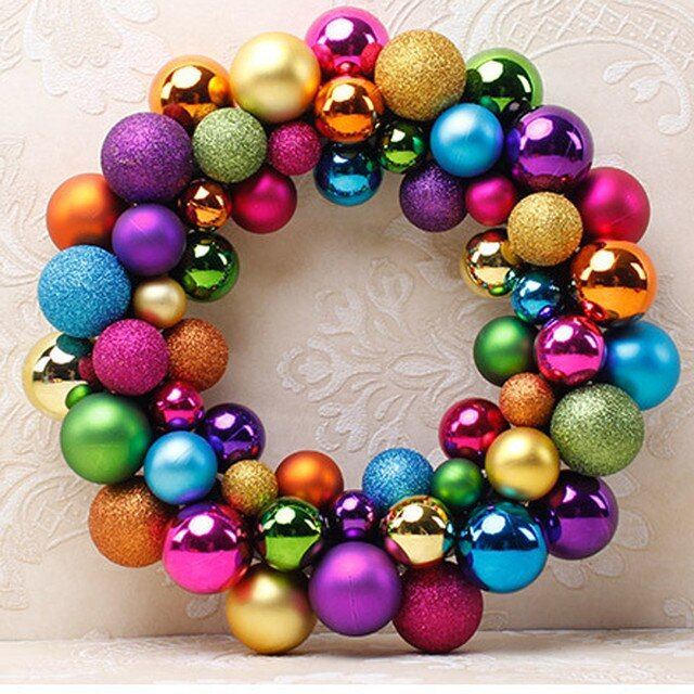Christmas Balls Wreath Door Wall Ornament Christmas Tree Hanging Adorn Garland Decoration Decor G20