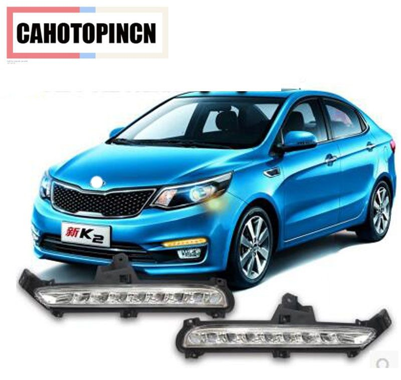 For KIA K2 RIO 2015 2016 Super Bright LED Car DRL Daytime Running Lights fog lamp with Turn Signal and dimming style Relay