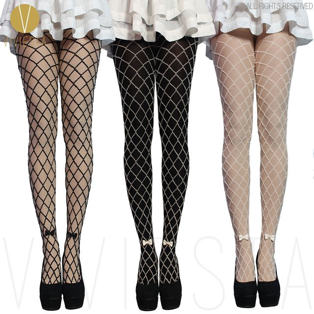 MOCK FAKE NET TIGHTS WITH BOW - 80D Thick Quality Women's Girls' Winter Cute Sexy Black Fishnet Crochet Stockings Pantyhose