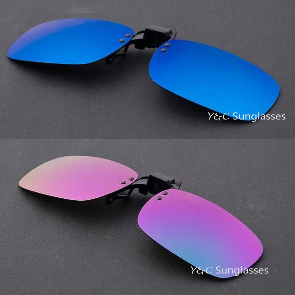 1PCS 3 Colors Mirror Lens Day Vision mirror Sunglasses Clip For Night Driving Eyeglass Myopia Glasses Clips On retro de sol 2640