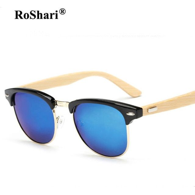 Vintage Men bamboo wood sunglasses women brand designer Mirror sun glasses men blue lens oculos de sol feminino for dropshipping