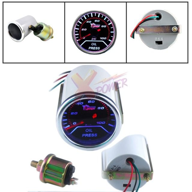 "Xpower-NEW CAR TRUCK 2"" 52mm SMOKE LEN LED INDICATOR OIL PRESSURE 0-100 PSI GAUGE"