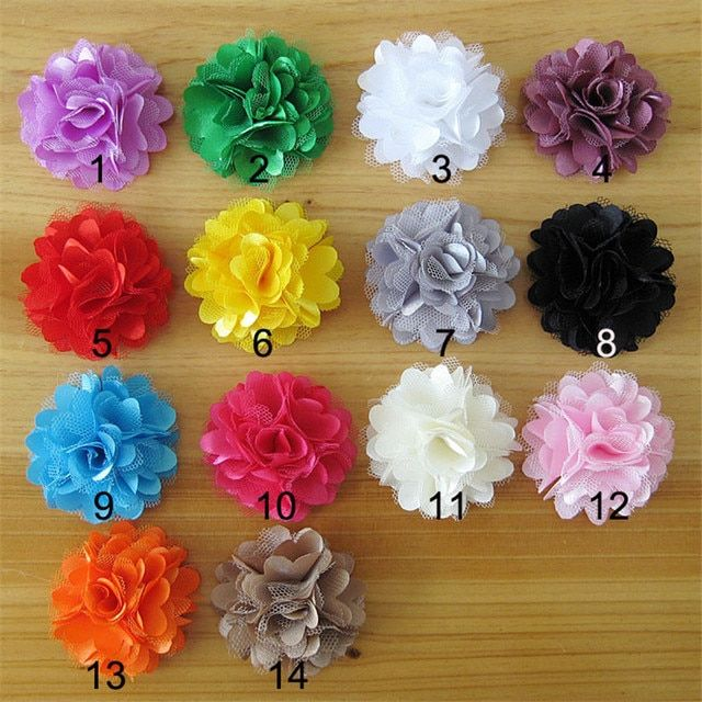 Hot Sale!100pcs/lot 14colors shabby fabric flowers for  girl  headbands hairband hair ornaments diy accessories