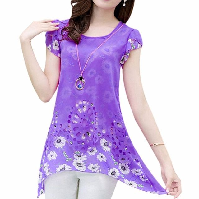 Plus Size Summer Women O-Neck Tops Lady Floral Print Long Tee Shirt Chiffon Blouse XL