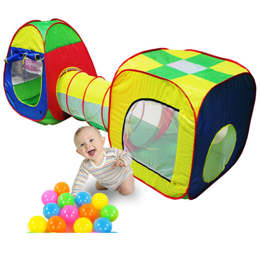 3pc Pop-up Play Tent Children Tunnel Kids Play Tent Children Tunnel Kids Adventure House Toy Ball Pool Toys For Children