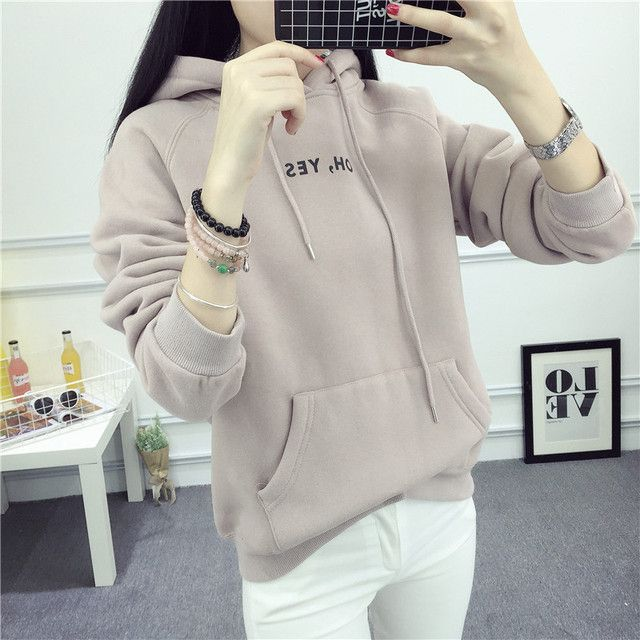 Winter Hoodies Sweatshirt Women Loose Harajuku Print Oblique Pocket Long Sleeve Pullover Female Thick Sweatshirt Casual Coat