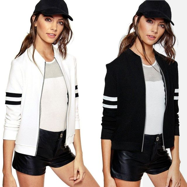 2017Women Spring Autumn Slim Basic Bomber Jacket Stripe Long Sleeve Zipper Casual Baseball Short Coat Cardigan Outwear Plus Size