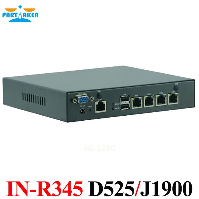Partaker Network Firewall Intel J1900 Atom D525 Processor Mini Computer 4 Lan Firewall Definition Fan Cooling Structure