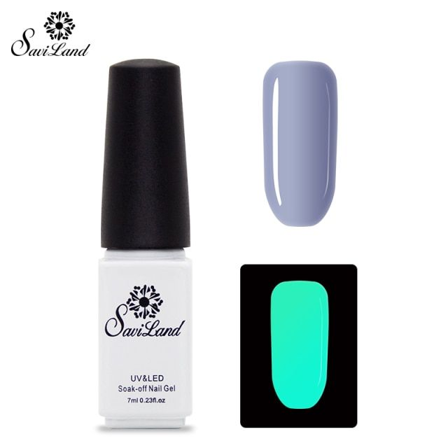 Saviland 1pcs UV Gel Night Glow In Dark Lacquer Varnishes Soak-off Nail Gel Fluorescent Luminous Colors Nail Polish